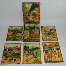 Juegos antiguos: ANTIGUO Y PRECIOSO ROMPECABEZAS DE CUBOS DE CARTON - PRECIOSAS ILUSTRACIONES DE NIÑOS HACIENDO GAMBE. Lote 53350454