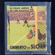 Juegos antiguos: JUEGO HABILIDAD DE LINIMENTO DE SLOAN: FUTBOLIN. INLCUYE LA BOLITA. CAMISETA FUTBOL BARCELONA BARÇA. Lote 57975311