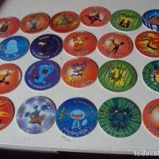 Juegos antiguos: LOTE DE 21TAZOS DE POKÉMON 3 MATUTANO 2 HOLOGRAFICOS. Lote 78224613