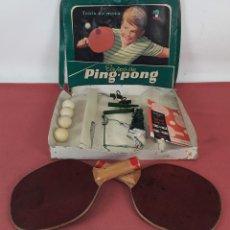 Juegos antiguos: TENIS DE MESA. EQUIPO DE PING - PONG. MARFIL. ESPAÑA. CIRCA 1960.. Lote 101287968