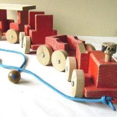 Juegos antiguos: GOULA SPAIN. TRENECITO DE ARRASTRE EN MADERA (AÑOS 70). Lote 86627424