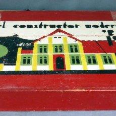 Juegos antiguos: EL CONSTRUCTOR MODERNO FCD JUEGO CONSTRUCCIONES MADERA AÑOS 40 CAJA GRANDE INSTRUCCIONES. Lote 86935972