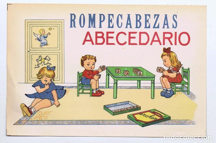 LITOGRAFÍA JUGUETE ROMPECABEZAS ABECEDARIO GRANDE 26X17 CM ARCHER, 40S-50S. ORIGINAL (Juguetes - Juegos - Otros)