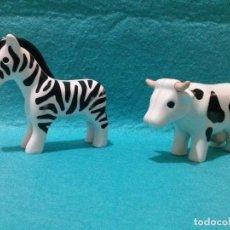 Juegos antiguos: DOS FIGURAS ANIMALES PIN Y PON...*VACA Y CEBRA*. Lote 91415805