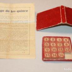 Juegos antiguos: ANTIGUO JUEGO DE LOS 15 DE MADERA, EN CAJA Y CON INSTRUCCIONES. 9CM X 9CM.INFORMACIÓN Y FOTOS.. Lote 98653739