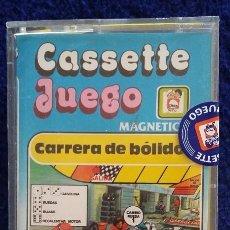 Juegos antiguos: CARRERA DE BOLIDOS. CASSETTE JUEGO MAGNETICO DE CHICOS. CERRADO, SIN USO. AÑOS 80. Lote 164571429