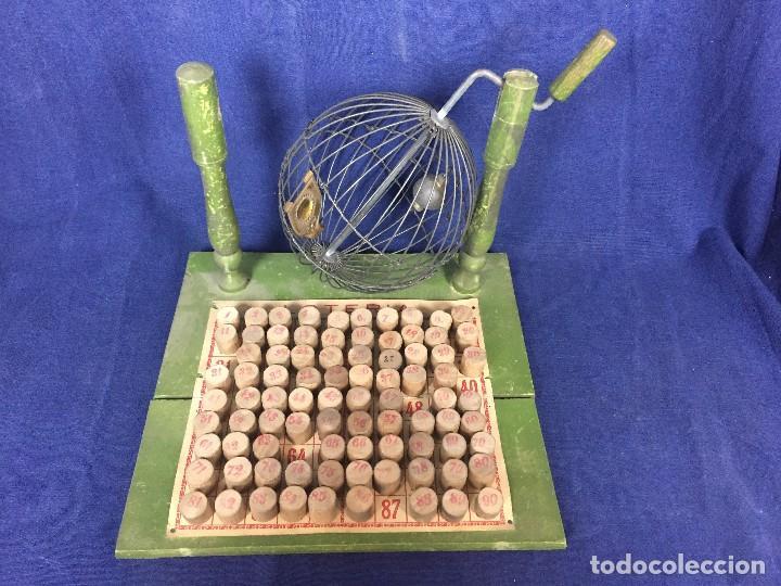 Juegos antiguos: antiguo juego de loto bingo loteria infantil cartones cilindros 1900 25x25x25cms - Foto 2 - 117100351