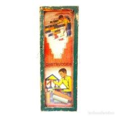 Juegos antiguos: JUEGO CONSTRUCCIÓN CON BLOQUES PIEZAS DE MADERA. AÑOS 40. CAJA CON CRISTAL. Lote 118633423