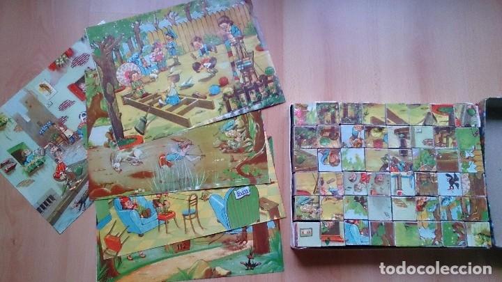 Juegos antiguos: Antiguo rompecabezas juego de cubos dibujos infantiles - Foto 2 - 119413259