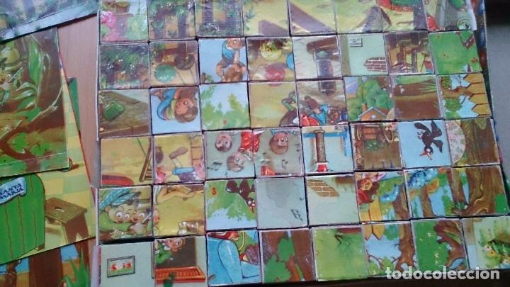 Juegos antiguos: Antiguo rompecabezas juego de cubos dibujos infantiles - Foto 3 - 119413259