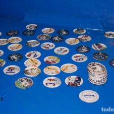 Juegos antiguos: LOTE DE 65 TAZOS METALICOS RAPPERS REAL MADRID. Lote 119923027