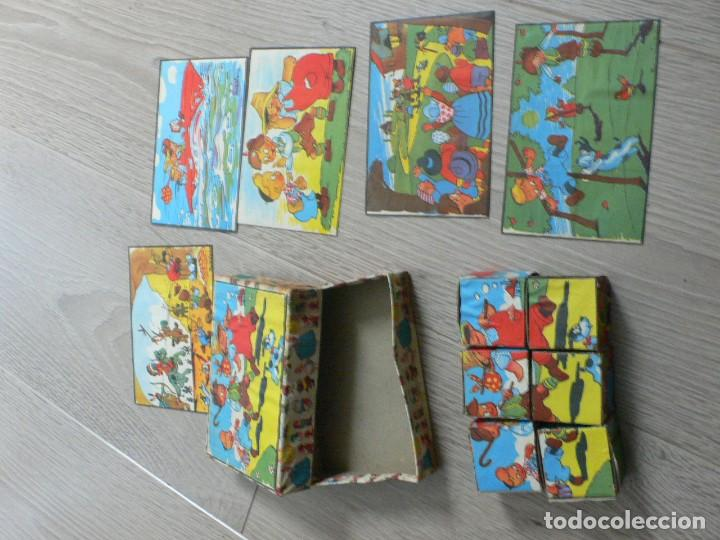 Juegos antiguos: pequeño juego de cubos de cartón a estrenar, años 50 - Foto 2 - 120070979