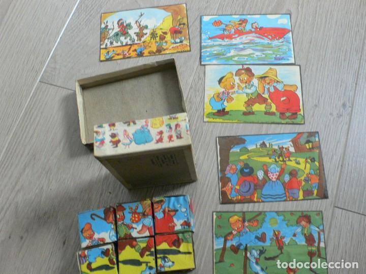 Juegos antiguos: pequeño juego de cubos de cartón a estrenar, años 50 - Foto 5 - 120070979