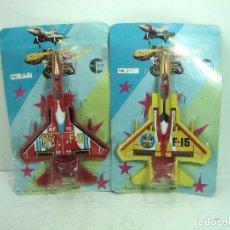 Juegos antiguos: 2X BLISTER AVION - PALAU TOYS SUPER FIGHTER F-15 REF:347 - SPAIN AÑOS 80 - FRICCION F15. Lote 122087663