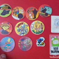 Juegos antiguos: LOTE ANTIGUO TAZO TELECAPS BIMBO TINTA TERMICA MATUTANO TTATU PITUFOS DONETTE PELICULAS TOI PREMIUM. Lote 122089823