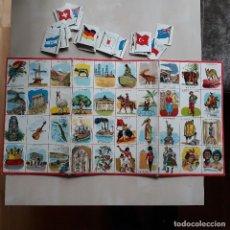 Juegos antiguos: TABLERO DE CARTON Y FICHAS DE CAPITALES Y BANDERAS, AÑOS 60. Lote 128684023