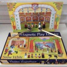 Juegos antiguos: TEATRO MAGNÉTICO BLANCANIEVES FIGURAS DE MADERA DOS ESCENARIOS COMPLETO. Lote 139192674
