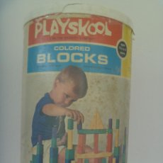 Juegos antiguos: ANTIGUO CUBO DE PIEZAS DE CONSTRUCCION DE PLAYSKOOL , BLOCKS. ORIGINAL AMERICANO, 1972, MADE IN USA. Lote 139295594