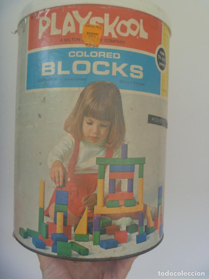 Juegos antiguos: ANTIGUO CUBO DE PIEZAS DE CONSTRUCCION DE PLAYSKOOL , BLOCKS. ORIGINAL AMERICANO, 1972, MADE IN USA - Foto 2 - 139295594