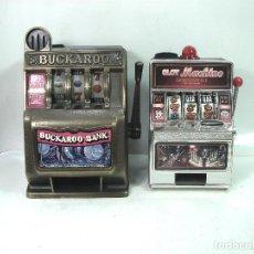 Juegos antiguos: 2X MAQUINA TRAGAPERRAS - BUCKAROO BANK + SLOT MACHINE - TRAGA PERRAS HUCHA JUGUETE . Lote 149462662