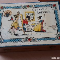 Juegos antiguos: ANTIGUO COSTURERO ESTUCHE DE LABORES- CAJA DE MADERA Y ACCESORIOS. Lote 172999072