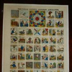 Juegos antiguos: ANTIGUO JUEGO DE LA OCA, 1858, CON NOMBRE NOUVELLE PETITE LOTERIE AMUSANTE, EN FRANCES, MONTADO SOBR. Lote 175735187
