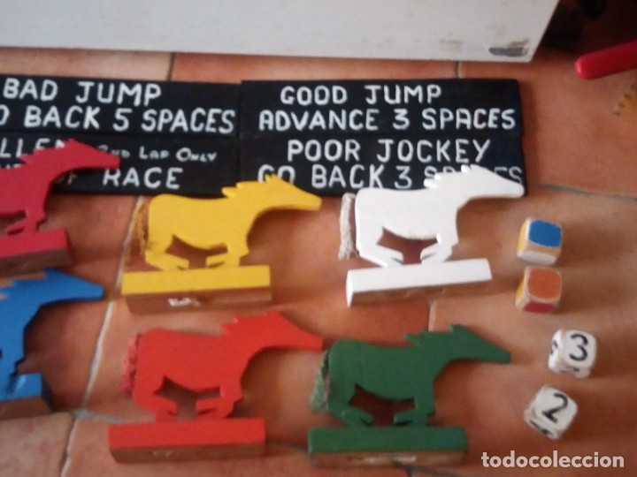 Juegos antiguos: juego de carreras de caballos madera, artesanal,años 70. - Foto 11 - 177956787