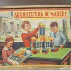 Juegos antiguos: ARQUITECTURA DE MADERA - CONSTRUCCION - COMPLETO Y CON INSTRUCCIONES - AÑOS 40 / 50. Lote 182484175