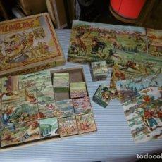 Juegos antiguos: ANTIGUO JUEGO ROMPECABEZAS CARTÓN 24 CUBOS.. Lote 184282036