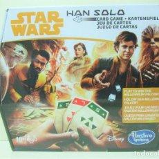 Juegos antiguos: CAJA HAN SOLO JUEGO DE CARTAS - STAR WARS HASBRO DISNEY GAMING - CARD GAME CARTA HALCÓN MILENARIO. Lote 184805577