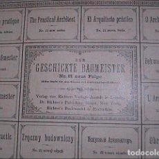 Juegos antiguos: MANUAL DE CONSTRUCCIÓN EL ARQUITECTO PRÁCTICO. AÑO 1900. RICHTER'S PRINTING ESTABLISHMENT.. Lote 187103143