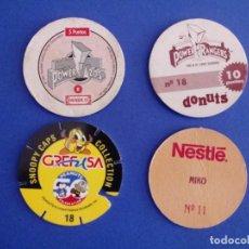 Juegos antiguos: LOTE 4 TAZOS DIFERENTES POWERTAZOS PANRICO, POWER RANGERS DONUTS, POCAHONTAS NESTLÉ, SNOOPY CAPS . Lote 194573030