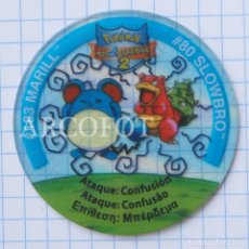 Juegos antiguos: 1 TAZO POKEMON TAZOS LEAGUE 2 - #183 MARILL - #80 SLOWBRO - MATUTANO - VER FOTOS. Lote 206862008