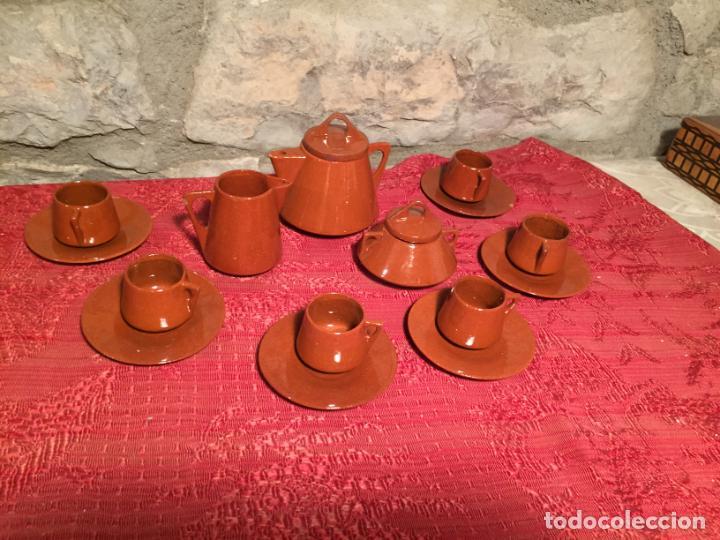 Juegos antiguos: Antiguo juego de café de juguete deceramica marrón de los años 60 - Foto 2 - 224366513