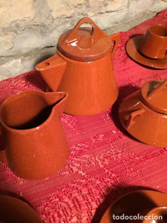 Juegos antiguos: Antiguo juego de café de juguete deceramica marrón de los años 60 - Foto 5 - 224366513