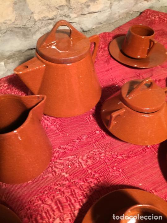Juegos antiguos: Antiguo juego de café de juguete deceramica marrón de los años 60 - Foto 6 - 224366513