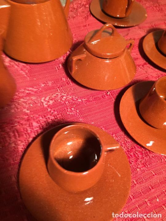 Juegos antiguos: Antiguo juego de café de juguete deceramica marrón de los años 60 - Foto 7 - 224366513
