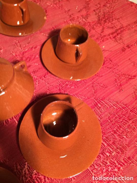 Juegos antiguos: Antiguo juego de café de juguete deceramica marrón de los años 60 - Foto 8 - 224366513