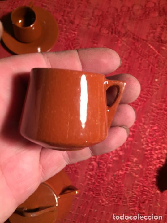 Juegos antiguos: Antiguo juego de café de juguete deceramica marrón de los años 60 - Foto 12 - 224366513