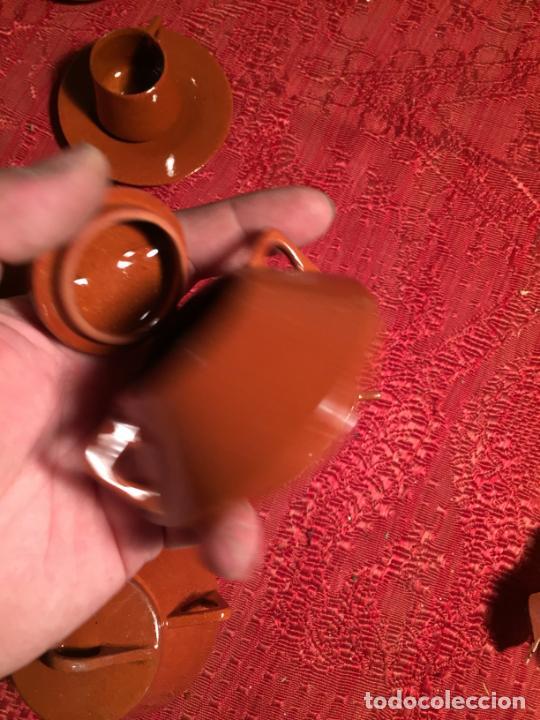 Juegos antiguos: Antiguo juego de café de juguete deceramica marrón de los años 60 - Foto 15 - 224366513