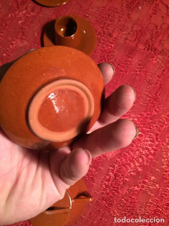 Juegos antiguos: Antiguo juego de café de juguete deceramica marrón de los años 60 - Foto 16 - 224366513