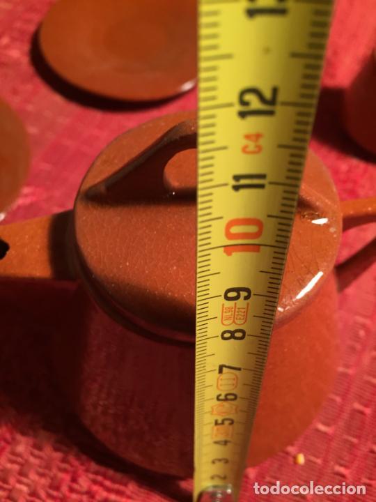 Juegos antiguos: Antiguo juego de café de juguete deceramica marrón de los años 60 - Foto 18 - 224366513