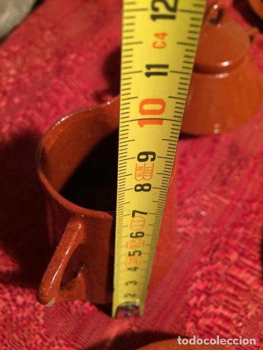 Juegos antiguos: Antiguo juego de café de juguete deceramica marrón de los años 60 - Foto 19 - 224366513
