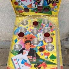 Juegos antiguos: SUPER DING-BALL LAS VEGAS -BILLAR EN METAL Y PLÁSTICO DECORADO ,PATAS PLEGABLES. SUPER DING-BALL LA. Lote 240210750