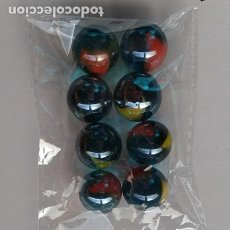 Jeux Anciens: 8 CANICAS O BOLICHES LAVABLES CRISTAL TORNASOL LOTE NUMERO 013. Lote 243262990