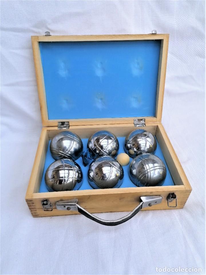 Juegos antiguos: Juego de petanca metálico de seis bolas - Foto 2 - 252613385