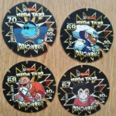 Jogos antigos: MEGA TAZO DRAGON BALL - MATUTANO - LOTE 4 TAZOS. Lote 253230550