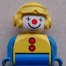 Juegos construcción - Lego: FIGURA LEGO DUPLO PAYASO CLOWN CASCO AMARILLO . Lote 56187202