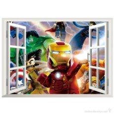 Juegos construcción - Lego: LOS VENGADORES - MINIFIGURAS - VINILO DE PARED ADHESIVO - MEDIDAS: 64 X 48 CMS. ¡NUEVO!. Lote 58483477