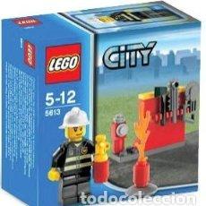 Juegos construcción - Lego: LEGO FIGURA DE BOMBERO CON HERRAMIENTAS Y FUEGO REF. 5613. NUEVO EN CAJA.. Lote 183290980